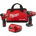 Milwaukee M12 FUEL 2-Tool Cordless Combo Kit — 1/2in. Drill Driver and 1/4in. Hex Impact Driver, Model# 2596-22