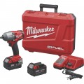 Milwaukee M18 FUEL Cordless Brushless 1/2in. Mid-Torque Impact Wrench Kit with Friction Ring — 1/2in. Drive, 600 Ft.-Lbs. Torque, 2 Batteries, Model# 2861-22